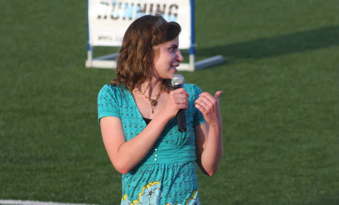 Brigette addressing the crowd at FOM 2 in 2009.